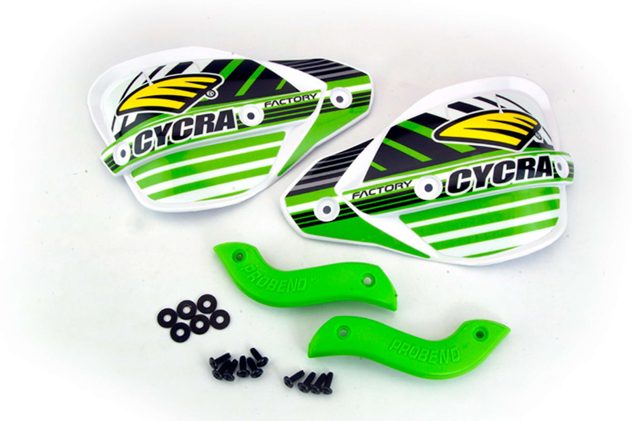 Factory Enduro Handshields W/M atching Abrasion Guards (set): Green